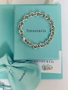 """Tiffany & Co Sterling Silver 8mm Round Link Bracelet 7"""" Small"""
