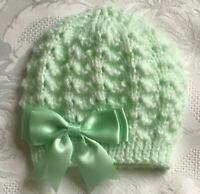 New Hand Knitted Baby Girl's Mint Green Beanie Hat With Mint Satin Bow 0 - 3 Mth