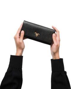 PRADA Black Large Saffiano Leather Wallet Authentic