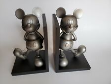 Extremely Rare! Walt Disney Mickey Mouse Classic Tin Colored Statue Bookends Set