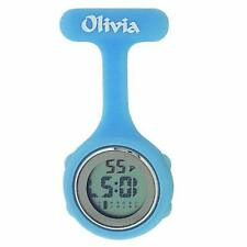 Olivia Light Blue Digital Multi Function Silicone Nurses Fob Watch TOC146