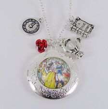 BEAUTY AND THE BEAST LOCKET CHARM NECKLACE disney princess belle vintage wedding