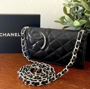 BLACK CHANEL CAMBON CC QUILTED SMALL CHAIN WALLET WOC CLUTCH CROSSBODY Silver