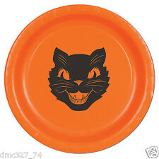 """HALLOWEEN Party Lunch 9"""" PLATES Vintage Scratch BLACK CAT Beistle Reproduction"""