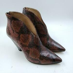 Womens Wine Red Snake Print Pointed Toe Casual Zipper Ankle Boots Size 8
