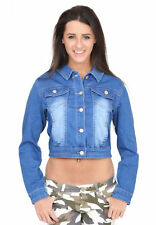Ladies Womens Fitted Stretch Cropped Short Blue Faded Denim Jeans Jacket 16
