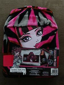 """Monster High Hooded Towel Wrap-24"""" X 50""""-100% Cotton-New"""