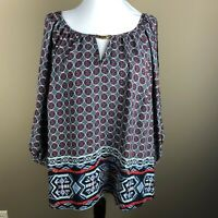 Iz Byer Women's 3/4 Sleeve Top Blouse Plus Size 1X Blue Red Tan White, Geometric
