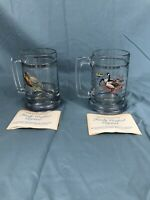 Wild Geese Pheasant Glass Beer Mug Set of Two