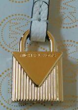 MICHAEL KORS GOLD LOGO LOCK STYLE CHARM / OPTIC WHITE LEATHER STRAP HANDBAG FOB