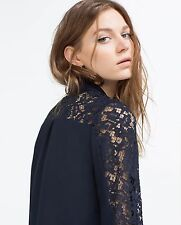 Zara Womens Contrast Blu Navy Lace Shirt Blouse Top SIzE M Long Sleeves SOLD OUT