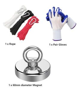 Magnet Fishing Kit-Super Strong 300lb magnet + 20m rope + gloves (free shipping)