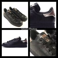 NEW Adidas Stan Smith Women's 7 Shoes Sneakers Black Rose Gold Leather BB1433