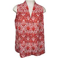 Laundry by Shelli Segal Womens Red Boho Semi Sheer V Neck Hi Low Tunic Top Sz L