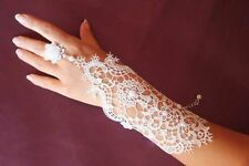 2pc Bridal Wedding Prom Short White Lace Cuff Bracelet Fingerless Gloves w Ring