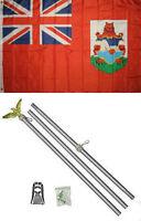 3x5 Bermuda Flag Aluminum Pole Kit Set 3'x5'