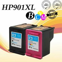 2PK For HP 901XL 901 Black & Tri-Color Ink Cartridge Combo Pack CC654AN CC656AN