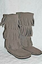 Womens sz 6 M Minnetonka Moccasins 3 Layer Fringe Boots Grey Suede Leather 1631T