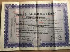 Minoga Patricia Gold Mines stock certificate No. 5714, 100 shares, 1937 Ontario