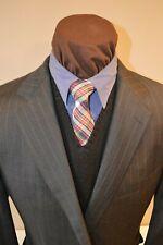 Ermenegildo Zegna mens 2btn gray blue beaded stripe blazer suit jacket e56L 42R