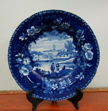 Tams Anderson & Tams Historical Blue Staffordshire Soup Bowl Pearlware 19th C