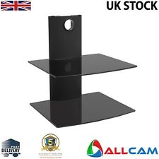 Allcam DVD Player Wall Mount in Black W/ Two Black Glass Shelfs for LCD/LED TVs