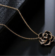 18k Gold Plated Rhinestone fashion Jewelry Black Rose Flower pendant Necklace