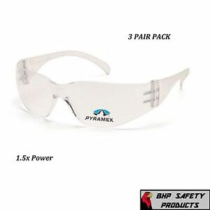 (3 PAIR) CLEAR READER SAFETY GLASSES WITH RX BIFOCAL LENS 1.5 MAGNIFICATION