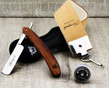 Barber Style Cut Throat Razor With XXL Sharping Leather Strop & Paste For M