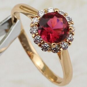 Size 6 7 8 9 10 Stylish Ruby Red 2.3ct Jewelry Rose Gold Filled Woman Ring R2032