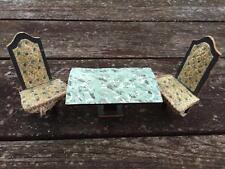 Antique Folk Art Wooden Dollhouse Miniature 3 Legged Chairs & Dining Table Set