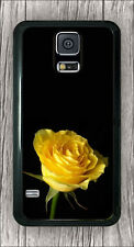FLOWER ROSE YELLOW ON BLACK BACKGROUND CASE COVER FOR SAMSUNG GALAXY S5 -fnw3Z