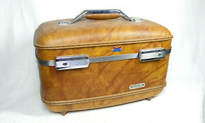 Vtg 70s American Tourister Train Travel Makeup Case w Logo Tray Marbled Surface