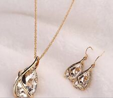 18k Gold Plated Jewellery Set Necklace Earring Sapphire Pendant Chain Drop Clear