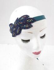 Teal Blue Beaded Headband Headpiece Vintage 1920s Great Gatsby Flapper 30s 4931