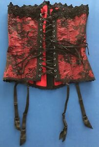 Fredericks of Hollywood Corset With Garters Floral Lace up red & black Size 34