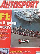 AUTOSPORT MAGAZINE 10 OCT 1991  F1 GOING BROKE? LEYTON HOUSE RESHUFFLE JAG PEUGE