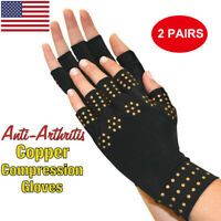 2Pack Copper Hands Arthritis Gloves Therapeutic Compression Brace Magnetic Joint