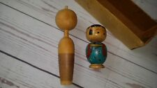 Japanese Precious Kokeshi Wooden Doll Lot 2 rare dolls