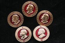 NOS! Lenin Club Lot of 5 Soviet Badge Pin Medal Vladimir Communist Red Banner