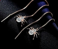 ROSE GOLD PLATED SPIDER CHAIN THREADER DANGLE PULL THROUGH CZ EARRINGS