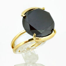 16.00 carat Black Diamond Round Cut Cocktail Ring 14k Yellow Gold