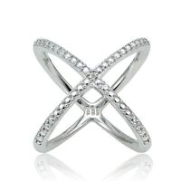 Sterling Silver Diamond Accent Criss-Cross X Ring
