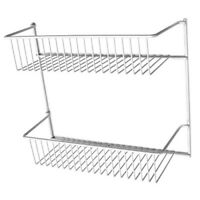 Pantry Door Organizer White Epoxy Finish 2-Tier Fixed Shelves Wire Rack Holder