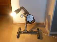 Steampunk Vintage Loft Industrial Pipe Lamp w/ Pressure Guages & Light Bulb
