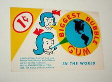 Standard Specialty Biggest World Gum Ball Machine Vending Display Card 1960s NOS