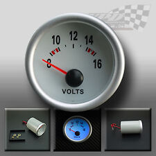 "VOLT GAUGE UNIVERSAL 52MM / 2"" WHITE FACE FULL PLASMA GLOW DISPLAY"