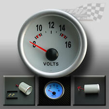 "Volt gauge 12v universal fit  52mm/2"" white face full glow dash panel display"