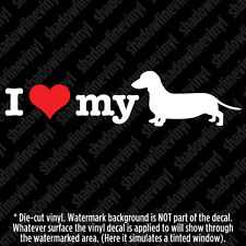 I LOVE MY DACHSHUND Vinyl Decal Sticker Pet Hound Dog Lover Wiener Hotdog Breed