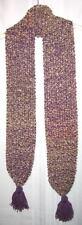 New Handmade Knitted Beige Purple Fringe Ball Scarf
